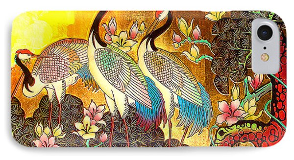 Old Ancient Chinese Screen Painting - Cranes IPhone Case by Merton Allen