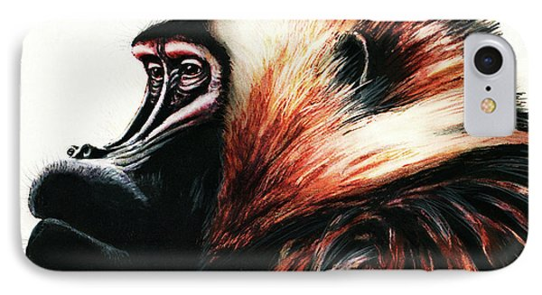 Old Baboon Animal Art Drawing IPhone Case