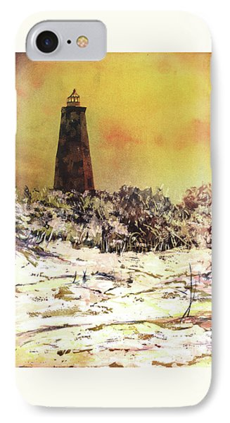 IPhone Case featuring the painting Old Baldy Lighthouse- North Carolina by Ryan Fox
