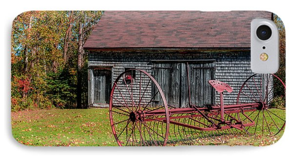 Old Barn And Rusty Farm Implement 02 Phone Case by Ken Morris