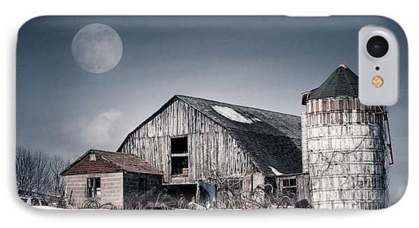Old Barn And Winter Moon - Snowy Rustic Landscape Phone Case by Gary Heller