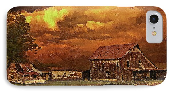 IPhone Case featuring the digital art Old Barn At Sunset by PixBreak Art