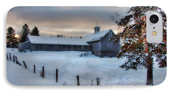 Old Barn In Snow At Sunrise IPhone Case
