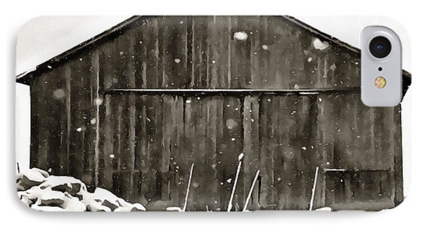 Old Barn In Winter IPhone Case by Dan Sproul