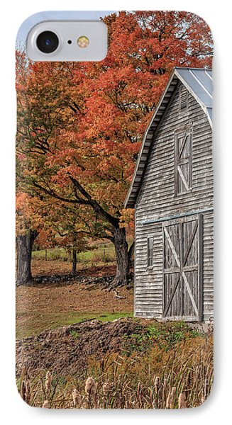 Old Barn With New England Foliage IPhone Case by Edward Fielding