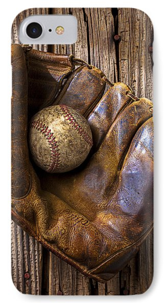 Old Baseball Mitt And Ball IPhone Case by Garry Gay