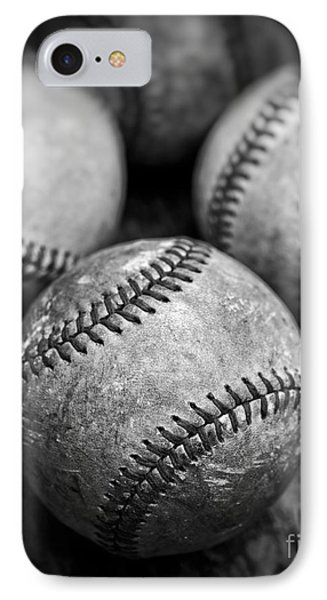 Old Baseballs In Black And White IPhone Case by Edward Fielding