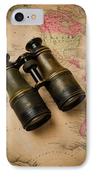 Old Binoculars On Antique Map IPhone Case by Garry Gay