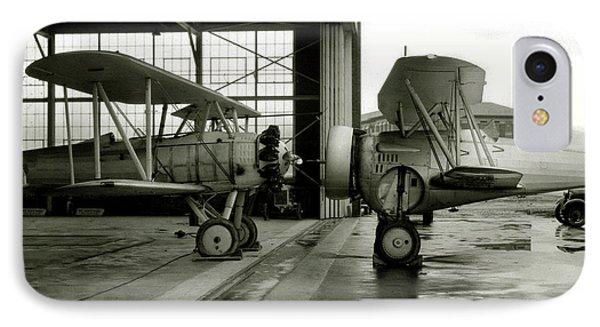 Old Biplanes In A Hanger  IPhone Case by Jon Neidert