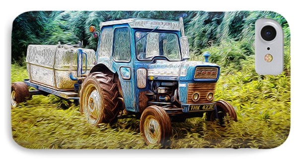 Old Blue Ford Tractor IPhone Case by John Williams
