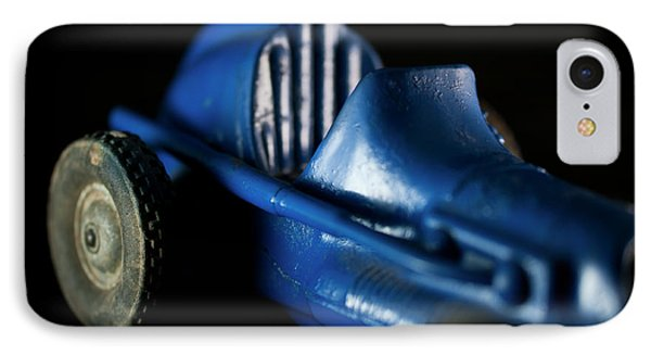 IPhone Case featuring the photograph Old Blue Toy Race Car by Wilma Birdwell