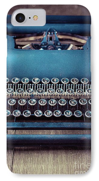 IPhone Case featuring the photograph Old Blue Typewriter by Edward Fielding