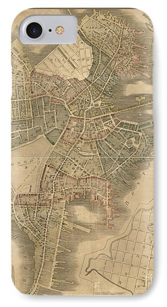 Old Boston Map IPhone Case by Pd