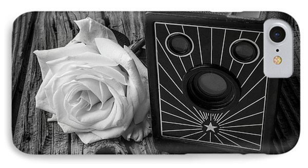 Old Camera And White Rose IPhone Case by Garry Gay