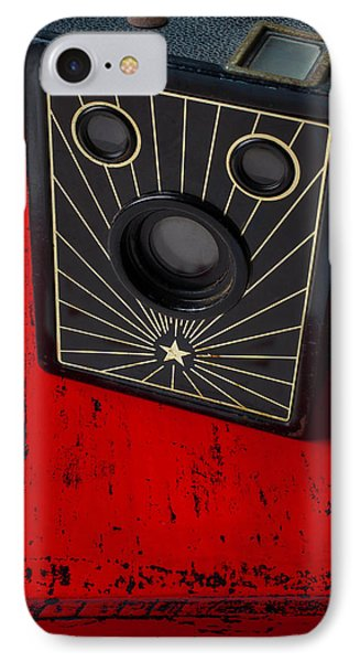 Old Camera On Red Table IPhone Case by Garry Gay