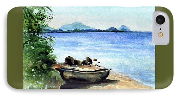 IPhone Case featuring the painting Old Carved Boat At Lake Malawi by Dora Hathazi Mendes