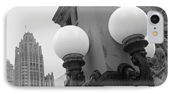 Old Chciago Street Lamps Bw IPhone Case by Cheryl Del Toro