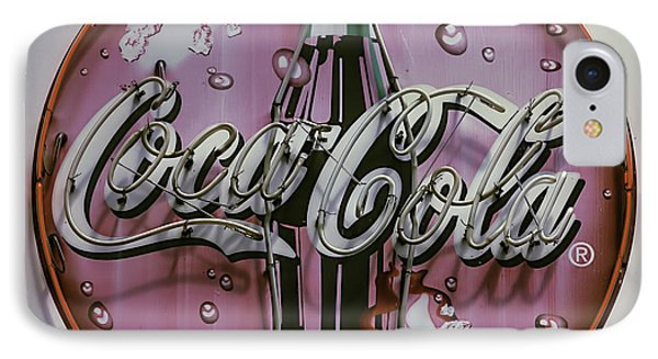 Old Coke Neon Sign IPhone Case by Garry Gay