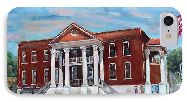 IPhone Case featuring the painting Old Courthouse In Ellijay Ga - Gilmer County Courthouse by Jan Dappen
