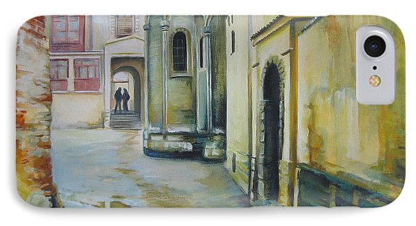 IPhone Case featuring the painting Old Courtyard by Elena Oleniuc
