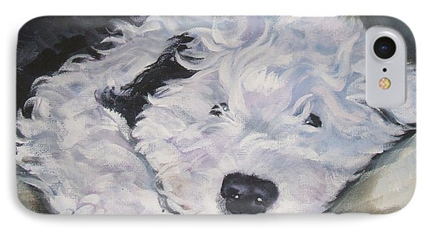 Old English Sheepdog Pup IPhone Case by Lee Ann Shepard