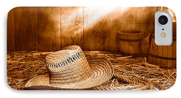 Old Farmer Hat And Rope - Sepia IPhone Case by Olivier Le Queinec