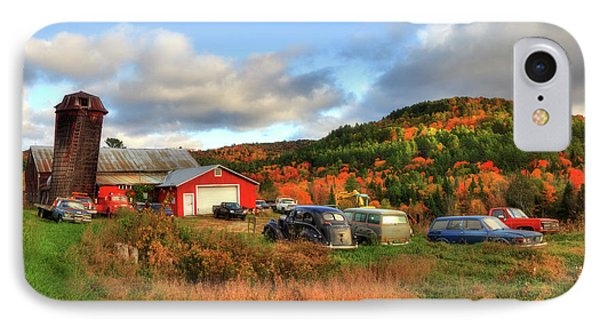 Old Farmhouse, Silo And Old Cars In Autumn IPhone Case