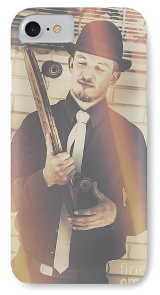 Old Fashion Gent With Skateboard Deck IPhone Case by Jorgo Photography - Wall Art Gallery