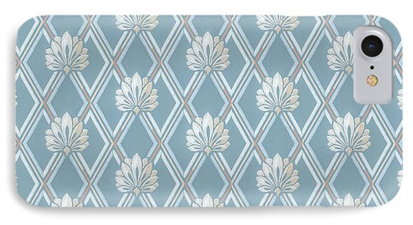 IPhone Case featuring the digital art Old Fashioned Blue Lattice Fan Wallpaper Pattern by Tracie Kaska