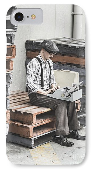 Old Fashioned Male Journalist Writing News Report IPhone Case by Jorgo Photography - Wall Art Gallery