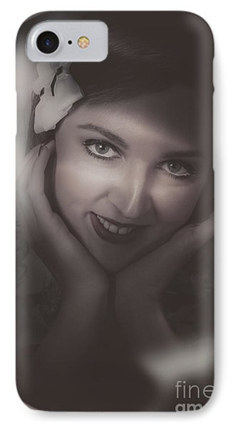 Old Film Noir Photo On The Face Of A 1920s Lady IPhone Case by Jorgo Photography - Wall Art Gallery