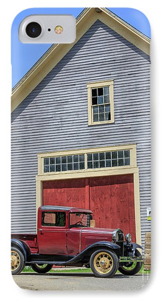 Old Ford Model T Pickup In Front Barn IPhone Case by Edward Fielding