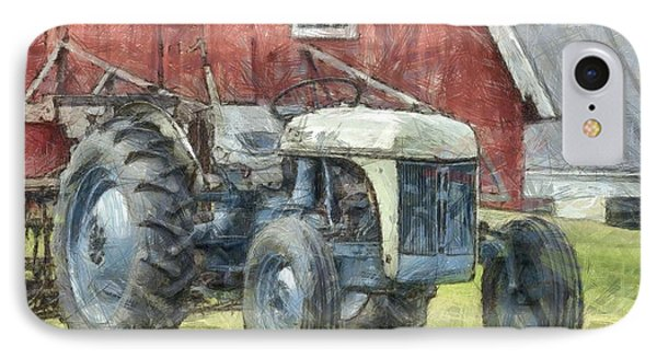 Old Ford Tractor Colored Pencil IPhone Case by Edward Fielding