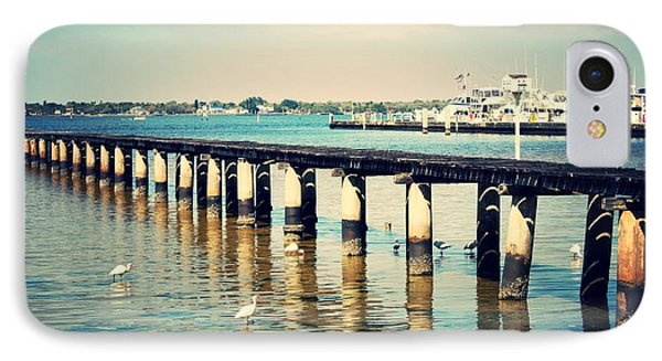 Old Fort Myers Pier With Ibises IPhone Case by Carol Groenen