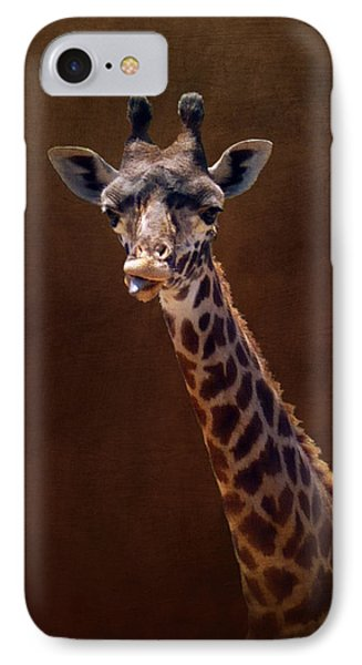 Old Funny Face Giraffe IPhone Case by Carla Parris