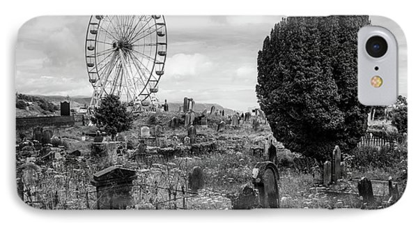 Old Glenarm Cemetery And Big Wheel Bw IPhone Case by RicardMN Photography