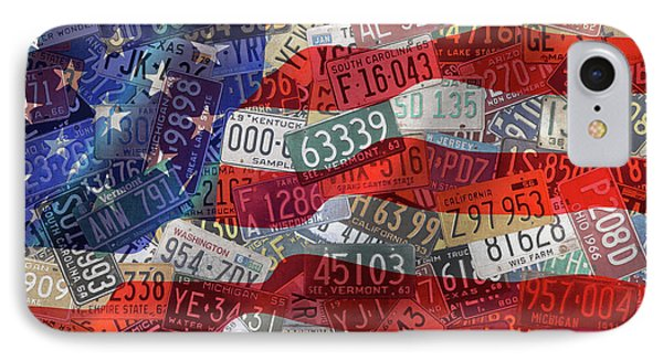 Old Glory In Recycled Vintage License Plates IPhone Case by Design Turnpike