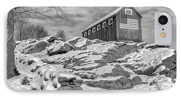 Old Glory Winter Bw IPhone Case by Bill Wakeley