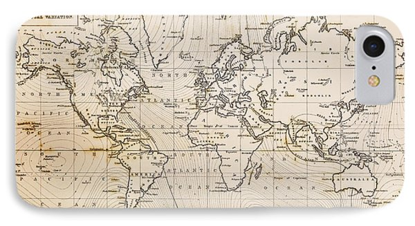 Old Hand Drawn Vintage World Map Phone Case by Richard Thomas
