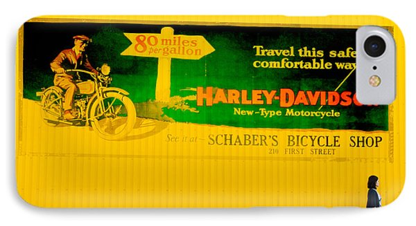 Old Harley Davidson Motorcycle Billboard On Yellow Building IPhone Case