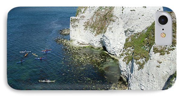 Old Harry Rocks Sea Kayak Tour Visiting The White Jurassic Cliffs On The Dorset Coast England Uk Phone Case by Andy Smy