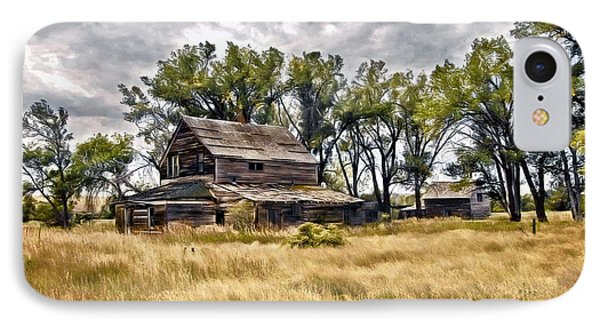 IPhone Case featuring the digital art Old House And Barn by James Steele