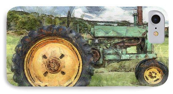 Old John Deere Tractor Pencil IPhone Case by Edward Fielding