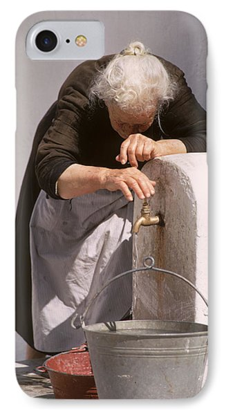 Old Lady With Water Pail Phone Case by Carl Purcell