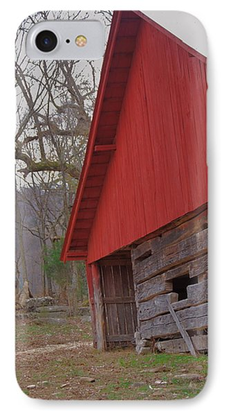 IPhone Case featuring the photograph Old Log Barn by Debbie Karnes