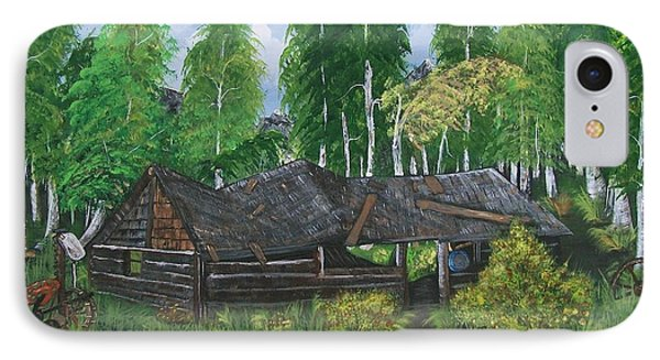 IPhone Case featuring the painting Old Log Cabin And   Memories by Sharon Duguay