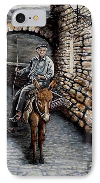 IPhone Case featuring the painting Old Man On A Donkey by Judy Kirouac