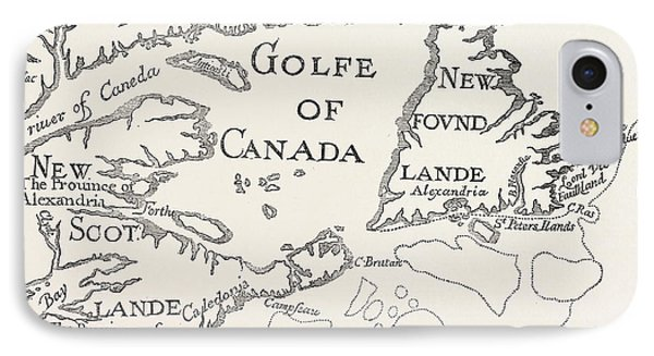 Old Map Of Acadie  Canada IPhone Case by French School