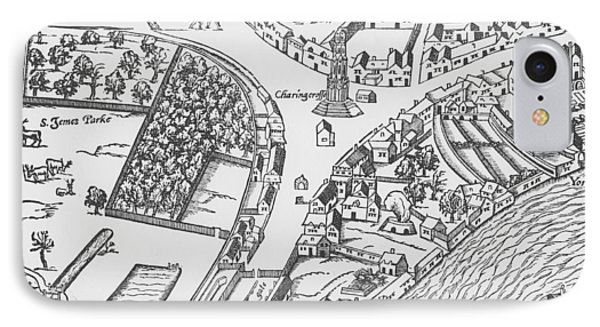 Old Map Of Charing Cross IPhone Case by Ralph Agas