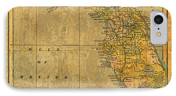 Old Map Of Florida Vintage Circa 1893 On Worn Distressed Parchment IPhone Case